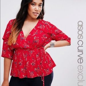 Wrap Front Blouse in Red Ditsy Floral